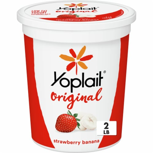 Yoplait Original Smooth Style Strawberry Banana Low Fat Yogurt Perspective: front