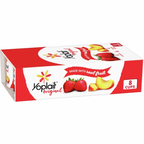 Yoplait Original Strawberry & Harvest Peach Gluten-Free Low Fat Yogurt Variety Pack Perspective: front