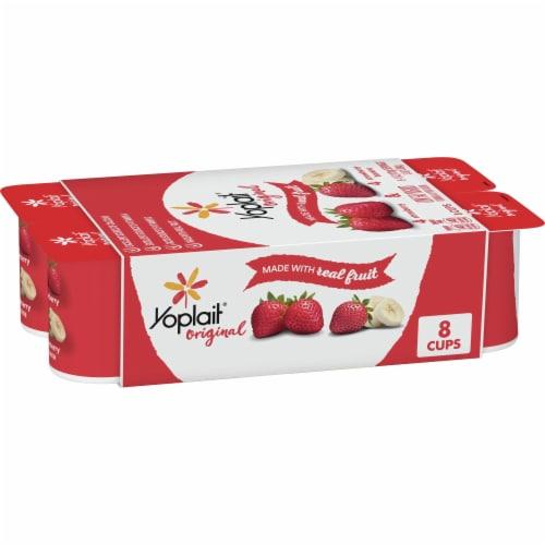 Yoplait Original Strawberry & Strawberry Banana Gluten-Free Low Fat Yogurt Perspective: front