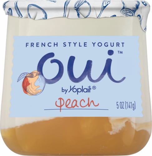 Oui by Yoplait Peach French Style Yogurt Perspective: front