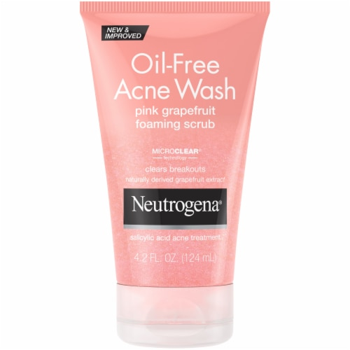 Neutrogena Oil-Free Pink Grapefruit Foaming Scrub Acne Wash Perspective: front