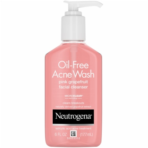 Neutrogena Oil-Free Acne Wash Pink Grapefruit Facial Cleanser Perspective: front