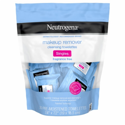 Neutrogena Fragrence Free Makeup Remover Cleansing Towelettes Singles Perspective: front