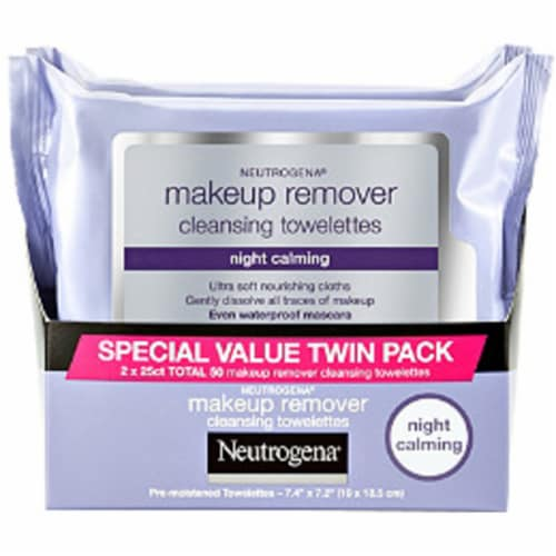Neutrogena Night Calming Makeup Remover Cleansing Towelettes Twin Pack Perspective: front