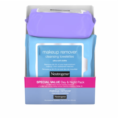 Neutrogena Makeup Remover Ultra-Soft Cleansing Towelettes Day & Night Pack Perspective: front