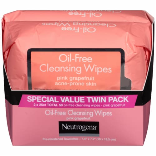 Neutrogena Oil-Free Acne Prone Pink Grapefruit Cleansing Wipes Twin Pack Perspective: front