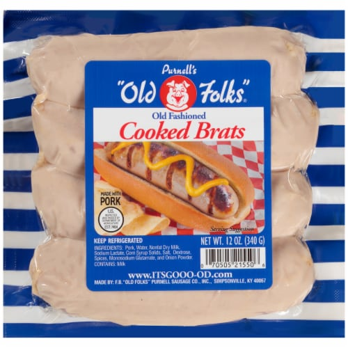 Purnell's Old Folks Old Fashioned Cooked Brats 4 Count Perspective: front