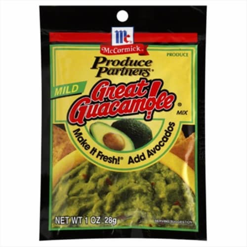 McCormick Produce Partners Mild Great Guacamole Seasoning Mix Perspective: front