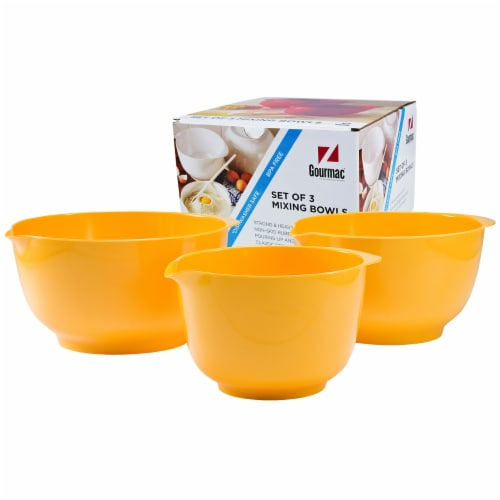 Gourmac Set of Melamine Mixing Bowls - Yellow Perspective: front