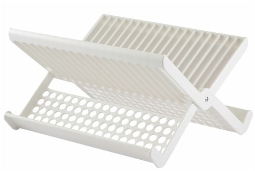 Hutzler Folding Dish Rack - White Perspective: front