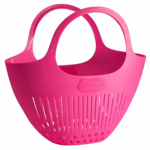 Hutzler Garden Colander harvest Basket - Pink Perspective: front