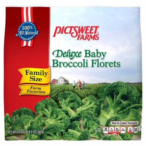PictSweet Farms Deluxe Baby Broccoli Florets Family Size Perspective: front