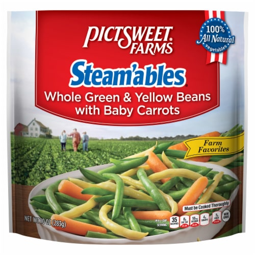 PictSweet Farms Steam'ables Farm Favorites Whole Green & Yellow Beans with Baby Carrots Perspective: front