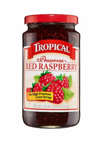 Tropical Red Raspberry Preserves Perspective: front