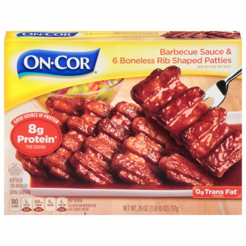 On-Cor Selects BBQ Sauce & Boneless Rib Shaped Patties Perspective: front