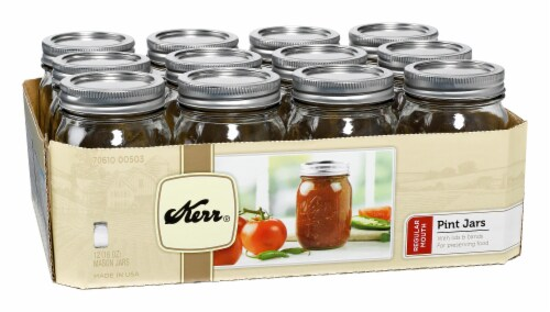 Kerr® Regular Mouth Mason Jars - 12 Pack - Clear Perspective: front
