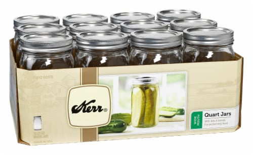 Kerr® Wide Mouth Mason Jars - 12 pk - Clear Perspective: front