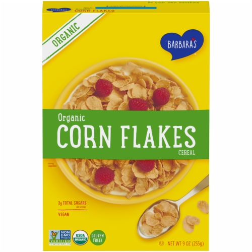 Barbara's Organic Corn Flakes Cereal Perspective: front