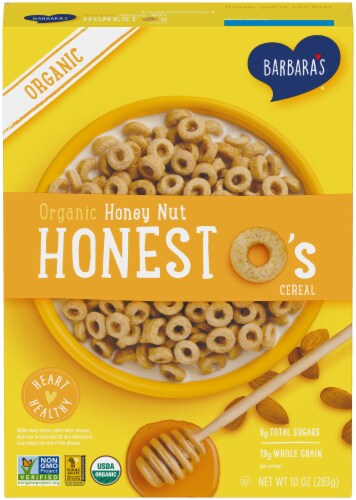 Barbara's Organic Honey Nut Honest O's Cereal Perspective: front
