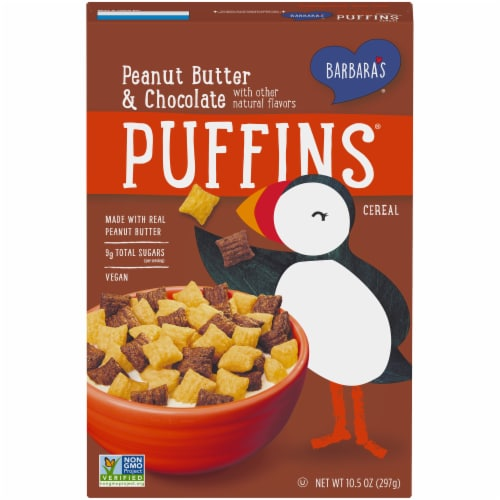 Barbara's Puffins Peanut Butter & Chocolate Cereal Perspective: front