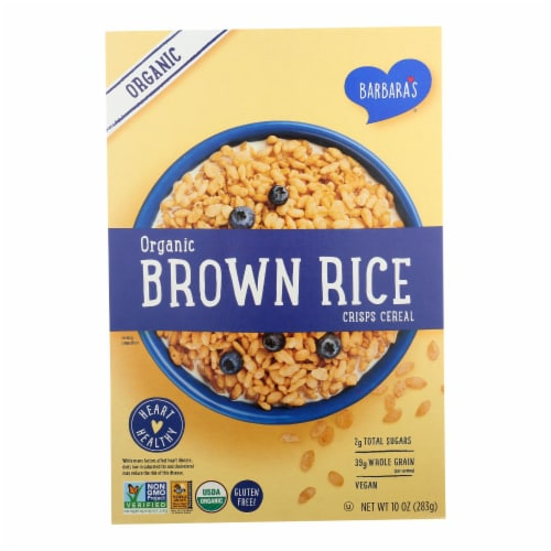 Barbara's Organic Brown Rice Crisps Cereal, Gluten-Free  - Case of 10 - 10 OZ Perspective: front