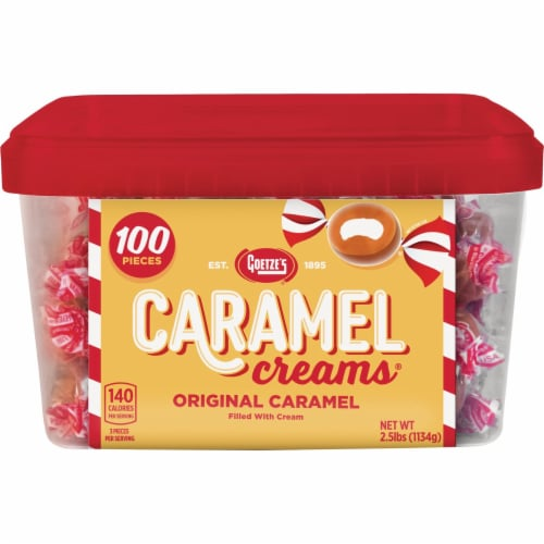 Goetze's Bulls-Eyes Caramel Cream Candy Display (100-Count) 721738 Perspective: front