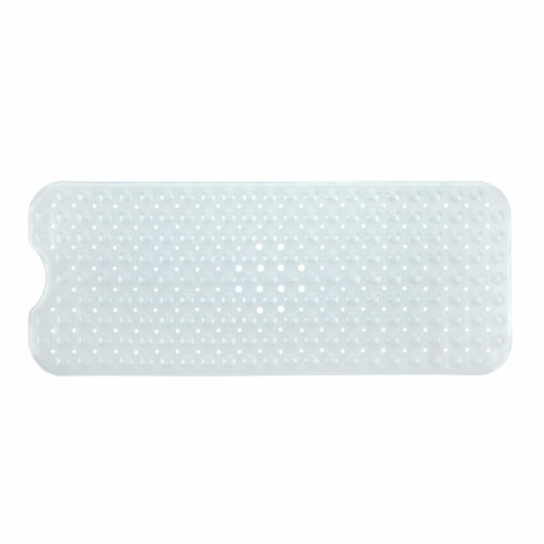 SlipX Solutions Extra-Long Vinyl Bath Mat - Clear Perspective: front