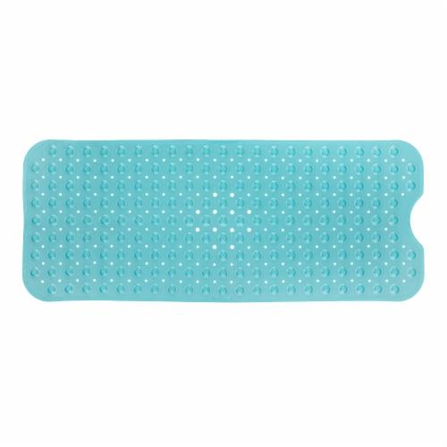 SlipX Solutions Extra Long Bath Mat - Aqua Perspective: front