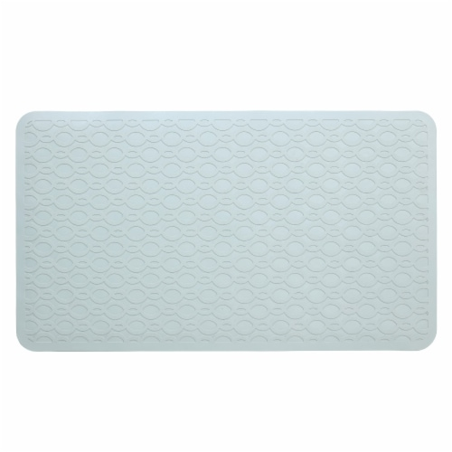 SlipX Solutions Rubber Safety Microban Bath Mat - Light Gray Perspective: front