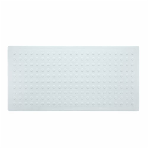 SlipX Solutions Extra-Long Rubber Safety Microban Bath Mat - White Perspective: front