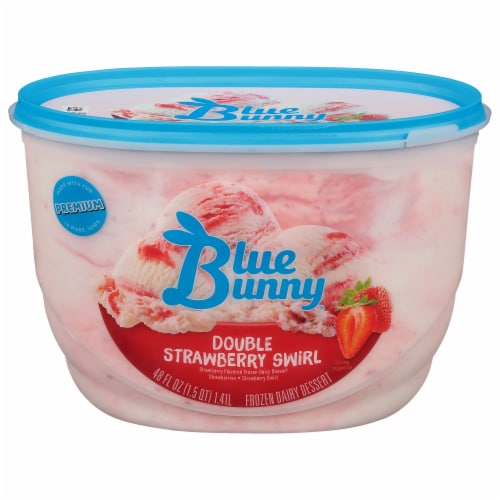 Blue Bunny Double Strawberry Swirl Frozen Dairy Dessert Perspective: front