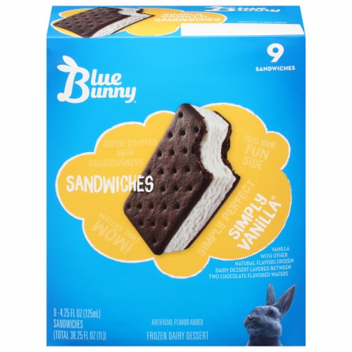 Blue Bunny Simply Vanilla Frozen Dairy Dessert Sandwiches Perspective: front