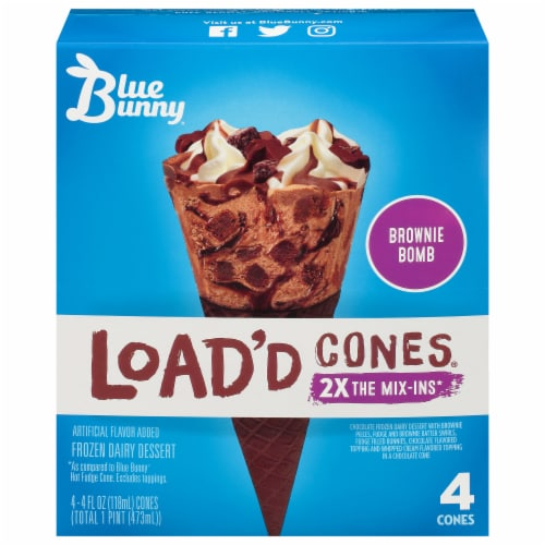 Blue Bunny Brownie Bomb Load'd Cones Perspective: front