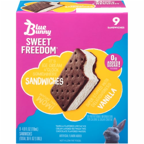 Blue Bunny Sweet Freedom Vanilla Ice Cream Sandwiches Perspective: front