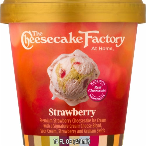 The Cheesecake Factory Strawberry Premium Strawberry Cheesecake Ice Cream Perspective: front
