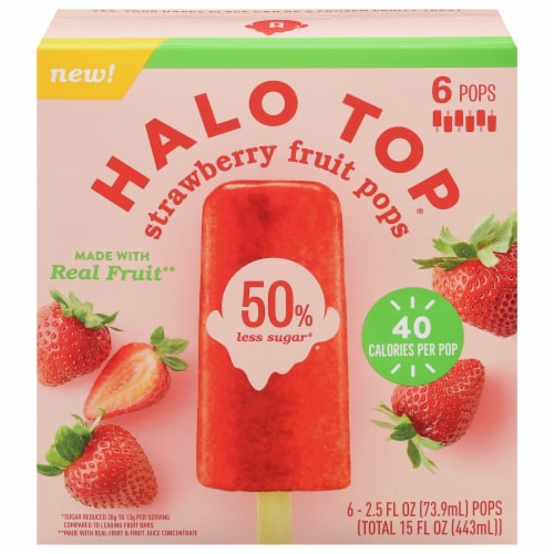 Halo Top Strawberry Fruit Pops Perspective: front
