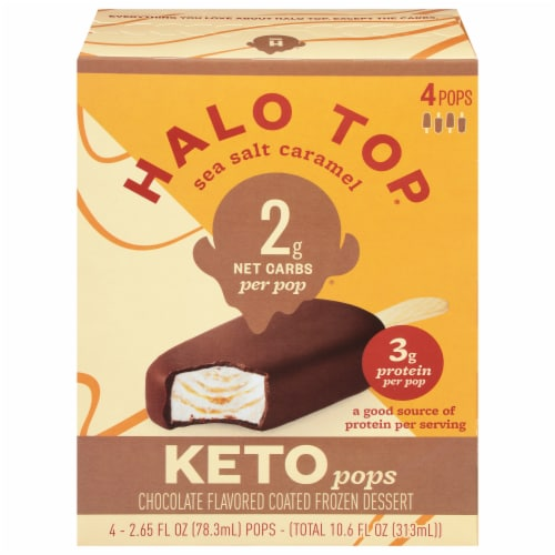 Halo Top Keto Sea Salt Caramel Ice Cream Pops Perspective: front