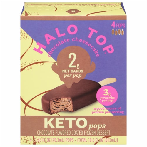Halo Top Keto Chocolate Cheesecake Ice Cream Pops Perspective: front