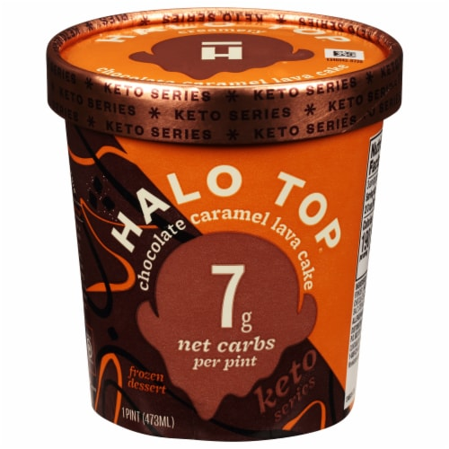 Halo Top Chocolate Caramel Lava Cake Frozen Dessert Perspective: front