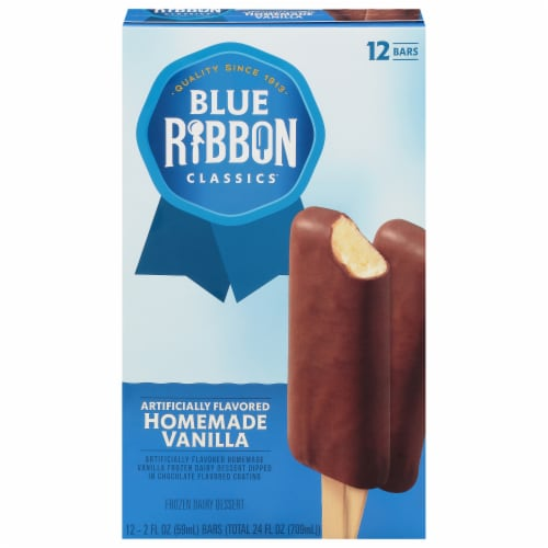Blue Ribbon Homemade Vanilla Chocolate Dipped Ice Cream Bars Perspective: front