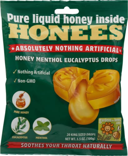 Honees Honey Menthol Eucalyptus Drops Perspective: front