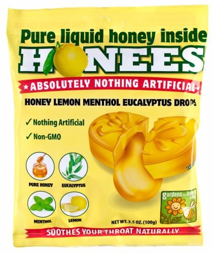 Honees Honey Lemon Menthol Eucalyptus Drops Perspective: front