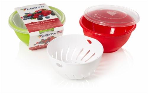 Arrow Plastic Bowl & Colander Set with Lid Perspective: front