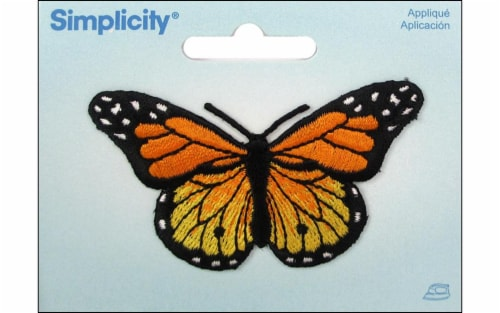 Simplicity Applique Iron-On Yellw & Orange Butterfly Patch Perspective: front