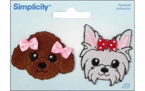 Simplicity Applique Iron-On Grey & Brown Puppies with Bows Patch Perspective: front