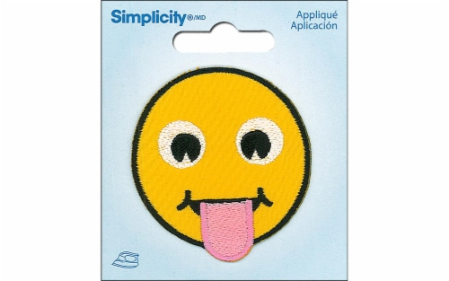 Simplicity Applique Iron On Tongue Out Emoji Perspective: front