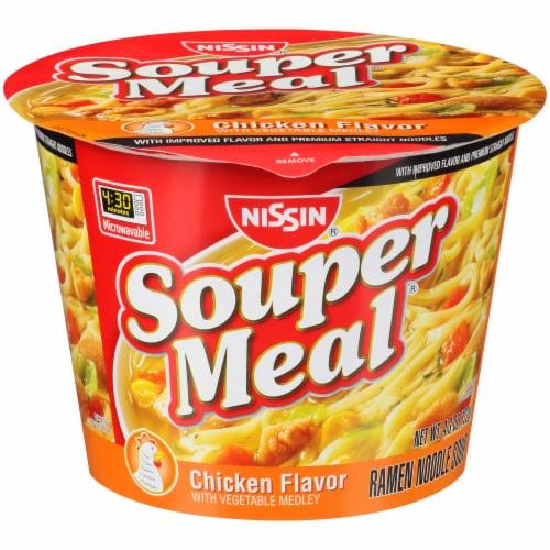 Nissin Souper Meal Chicken Flavor with Vegetable Medley Ramen Noodle Soup Perspective: front