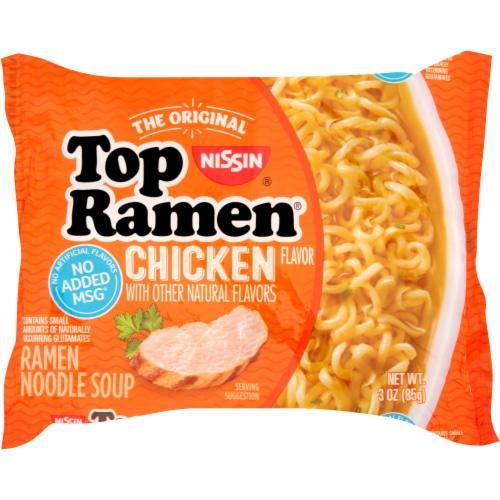 Nissin Top Ramen Chicken Flavor Ramen Noodle Soup Perspective: front
