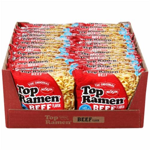 Nissin Top Ramen Beef Flavored Noodles Perspective: front