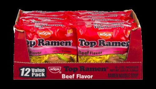 Nissin Top Ramen Beef Flavor Noodle Soup Perspective: front